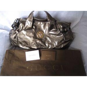Gucci metallic olive satchel